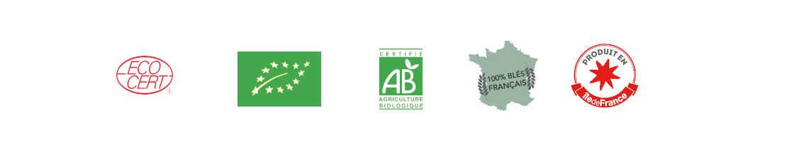 Logos AB, Ecocert, Produit ile de france, Blé français